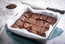 Chocolate Brownie In Steel Pan