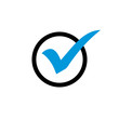 Leinwandbild Motiv blue check mark in circle icon