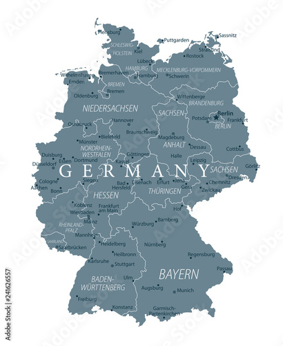 Fotografie, Obraz Germany Map - Grayscale - Highly detailed vector illustration