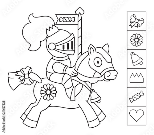 Color the knight. Find the objects hidden in the picture ...