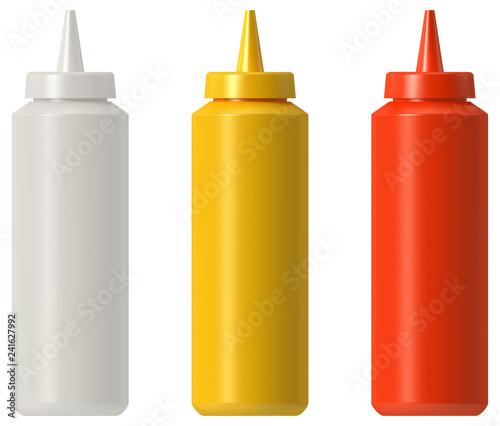 Fotografie, Obraz Ketchup mustard mayo plastic squeeze bottle