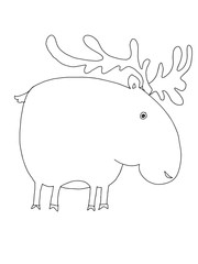 cute cartoon   reindeer animal illustration coloring drawing line