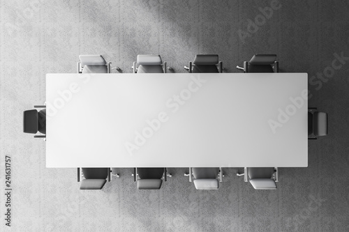 Fototapeta Top view of meeting room table obraz