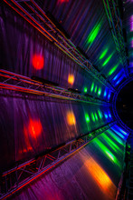 Futuristic Abstract Glowing Colorful Photon Tunnel Made From DMX Lights