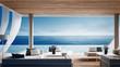 Leinwanddruck Bild - Living beach lounge - ocean villa on Sea view for vacation and summer / 3d render interior