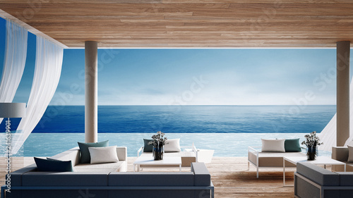 Fotografiet  Living beach lounge - ocean villa on Sea view for vacation and summer / 3d rende