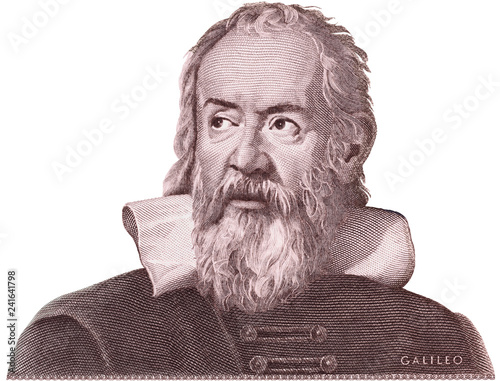 Galileo Galilei on Italy money isolated. Genius inventor, philosopher, astronomer, mathematician. Famous scientist in physics and astronomy, discoverer of telescope. Wall mural