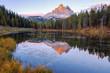 Beautiful Lago Di Antorno lake at background Drei Zinnen (Tre Cime di Lavaredo) mountain on the Dolomites