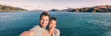 Cruise Ship Holiday Travel Vacation Tourists Taking Selfie On Summer Holidays Destination Banner Panorama .Interracial Couple Asian Woman Tourist, Caucasian Man Smiling.