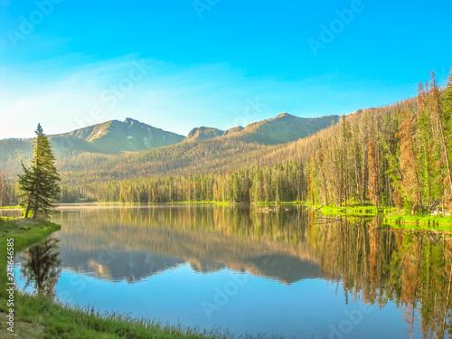 Obraz na płótnie Two Ocean Lake mirroring at Grand Teton National Park, Wyoming, United States
