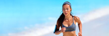Healthy Fit Active Asian Woman On Beach Run Wearing Technology Wearable Tech Device Smartphone Holder And Earphones Listening To Music Motivation On Summer Workout -banner Panorama.