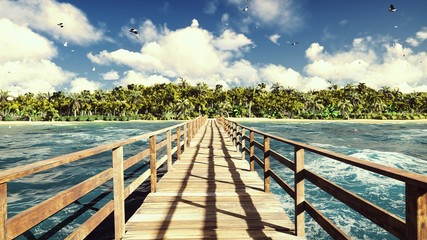 Panel Szklany Podświetlane Mosty The camera flies over a wooden bridge on a tropical island with an exotic white beach. Green palm trees, blue sky and sun. 3D Rendering