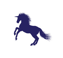 Unicorn Horse Silhouette With Detailed Hair Vector Illustration Design In White Background