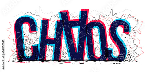 Chaos word, vector creative illustration.