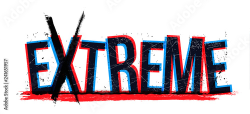 Photo Extreme word, vector illustration.