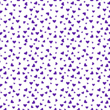 Hearts Confetti Seamless Pattern - Purple Confetti Hearts Scattered On White Background