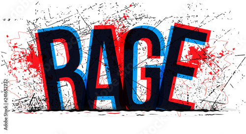 Fotografía Rage word, vector creative illustration.