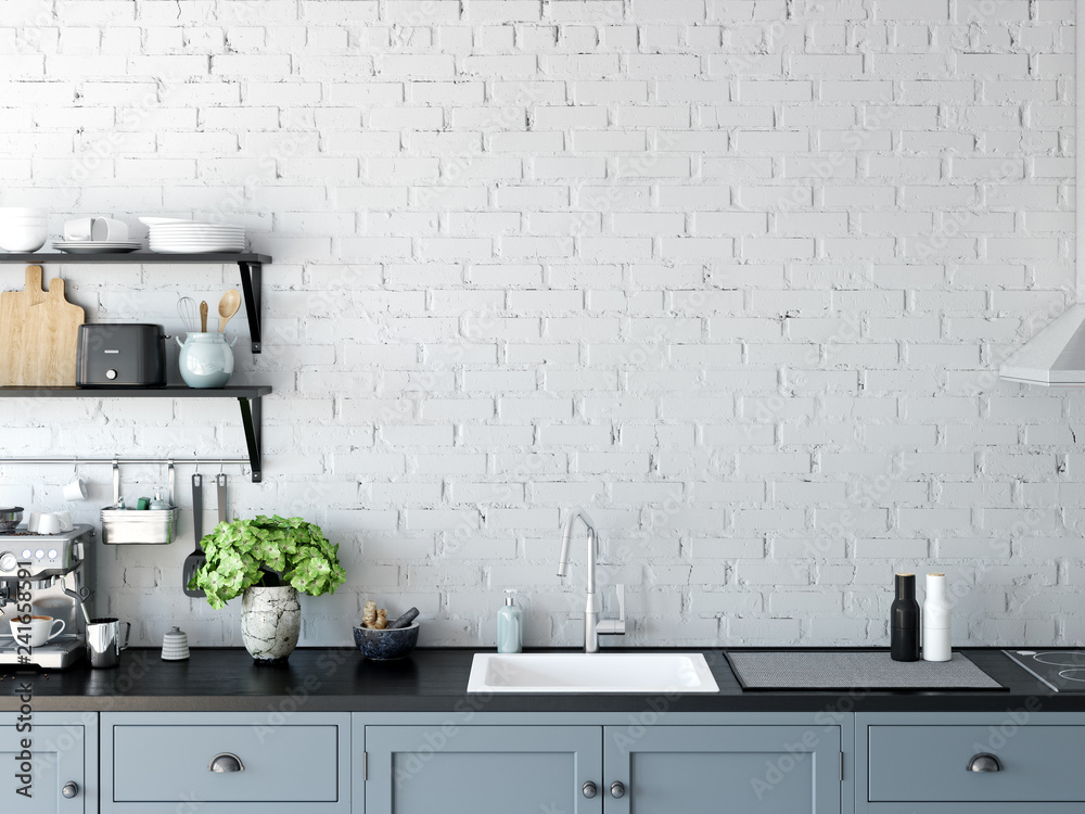 Fototapety, obrazy: Kitchen interior wall mockup.  Wall art. 3d rendering, 3d illustration.