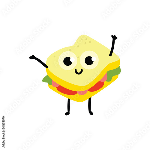vector illustration of sandwich cartoon character in flat style cute isolated emoticon of delicious food consisting of bread sliced meat and vegetables with smiling face and waving hand gesture buy smiling face and waving hand gesture