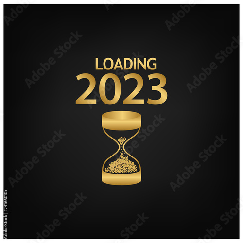 Fotografia  2023 Happy New Year Background with hourglass icon