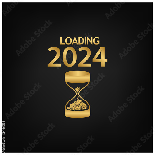 Fotografia  2024 Happy New Year Background with hourglass icon