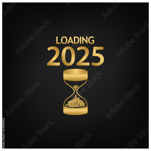 Fotografia  2025 Happy New Year Background with hourglass icon