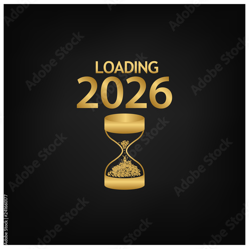 Fotografia  2026 Happy New Year Background with hourglass icon