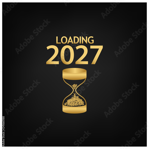 Fotografia  2027 Happy New Year Background with hourglass icon