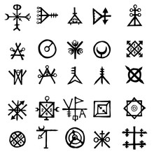 Mystic Set With Magic Circles, Pentagram And Imaginary Chakras Symbols. Collection Of Icons With Witchcraft And Occult Hand Writing Letters. Esoteric Concept. Vector