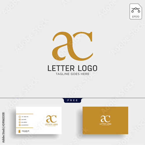 Photo letter ac, ca gold creative logo template with business card