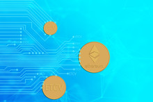 Ethereum And ETCV Coin Placed On Blue Background, Hard Fork Concept And Give Away ETCV Coin For Holders Of ETH Coins.