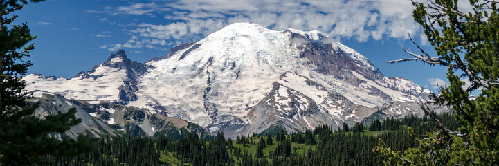 Summer Panorama of World Famous Mt Rainier Glaciers