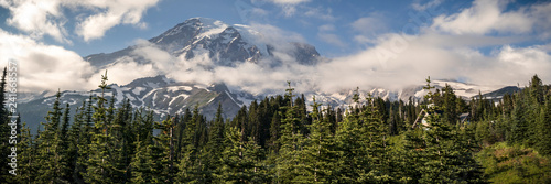 Summer Panorama of Mt Rainier from Paradise Parking Lot Wallpaper Mural
