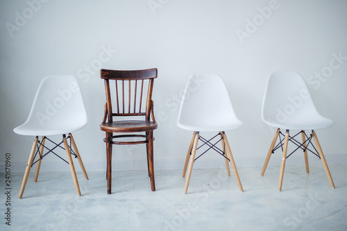 Different style chairs for coffee time, break time and meeting in lobby hotel or restaurant Canvas Print