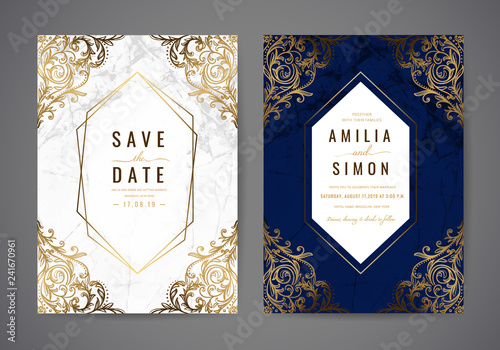 Fototapeta Luxury Wedding Invitation Cards With Gold Marble Texture And Geometric Pattern Classic Flair Vintage Vector Design Template
