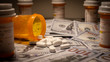 Leinwandbild Motiv US Currency and Prescription Medication