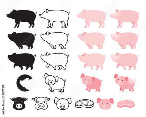 Pig Character Set, Line, Shape, Silhouette, Cartoon, Character Canvas