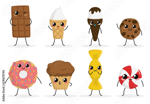 Fototapeta Cute funny food characters set isolated on white background. Sweets collection. Junk food. Ice cream, donut, cookies, candy, cake. Beautiful simple cartoon design. Flat style vector illustration. obraz