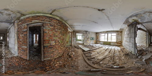 Photo sur Toile Les vieux bâtiments abandonnés 3D spherical panorama with 360 degree viewing angle Abandoned building in winter with snow in Pripyat For virtual reality in vr Full equirectangular projection Scary background Old soviet architecture