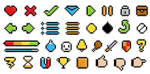Game Pixel Icons Set Isolated On White Background. Cute Signs And Logos. Low Pixel Elements With Shadows And Highlights. Flat Style Vector Illustration.