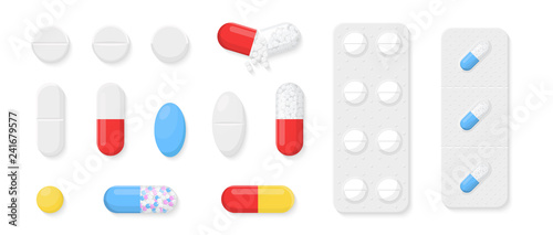 Tablou Canvas Pills, capsules and tablets set isolated on white background