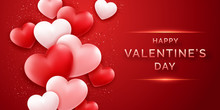 Valentines Day Horizontal Banner With Shining Pink And Red And Confetti. Holiday Card Illustration On Red Background