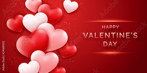 Fotografia  Valentines Day horizontal banner with shining pink and red and confetti