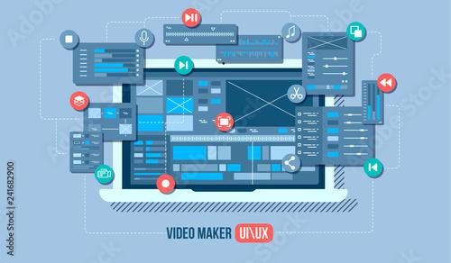 Obraz Mobile video editor flat vector concept. Motion design studio, video editor app, creating video online. Concept illustration. - fototapety do salonu
