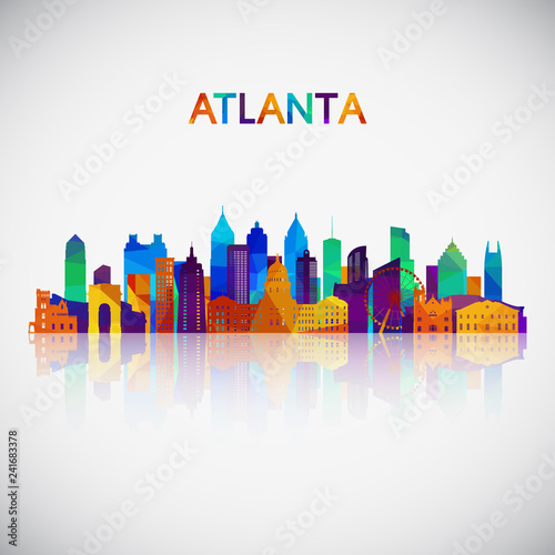 Atlanta skyline silhouette in colorful geometric style Canvas Print
