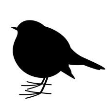 Robin Bird , Vector Illustration , Black Silhouette, Profile