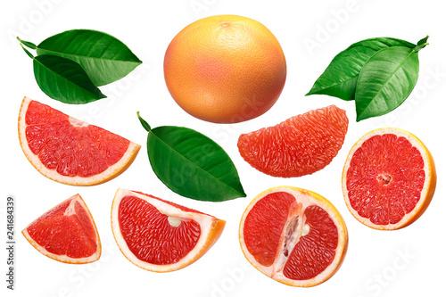 Fotografia Grapefruit whole and sliced, leaves, paths