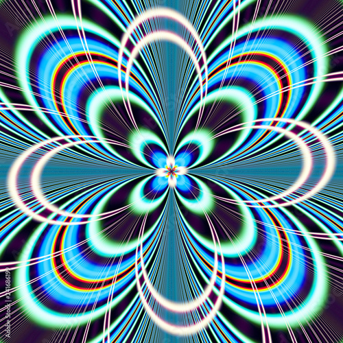 Poster Psychedelic Abstract fantasy ornament pattern. Creative fractal design for greeting cards or t-shirts.