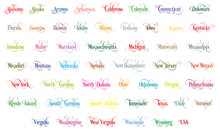 Typography Of The USA States Name Colorful Handwriting Illustration On White Background. Modern Calligraphy Element For Your Design. Simple Vector Lettering For T-shirts Print, Bags, Posters Etc.
