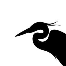 Heron  Head , Vector Illustration ,  Black Silhouette, Profile